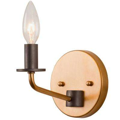 Jake 1-Light Antique Gold with Rustic Bronze Bath Light