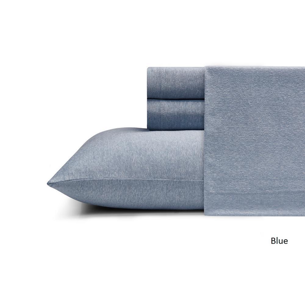 MHF Home Cotton Blend Blue Jersey King Sheet Set
