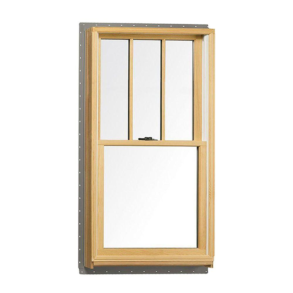 Andersen 37 625 In X 56 875 400 Series Tilt Wash Double Hung Wood Window With White Exterior And Grilles