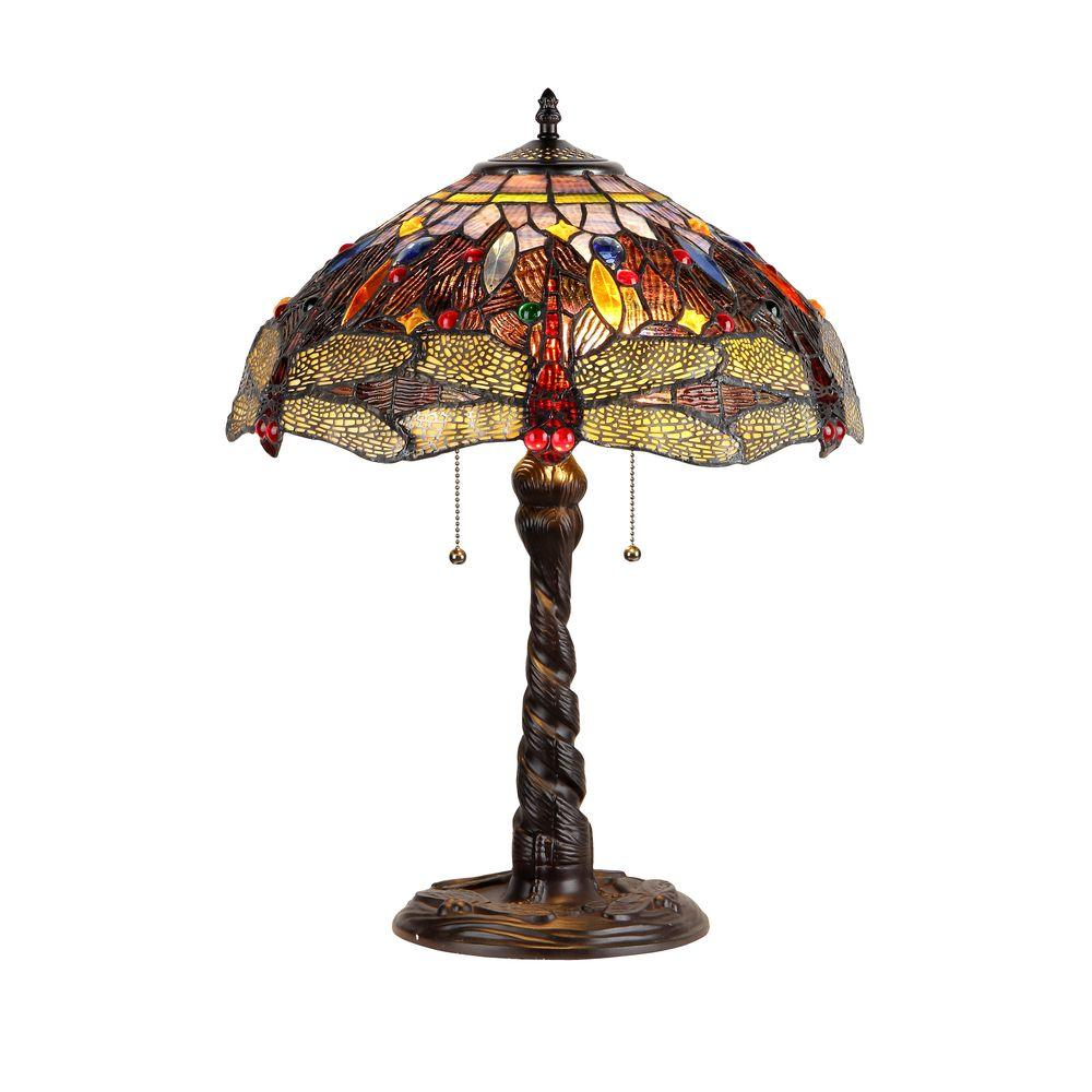 Chloe Lighting Dragan 23 in. Tiffany Style Dragonfly Table Lamp with 16 in. Shade