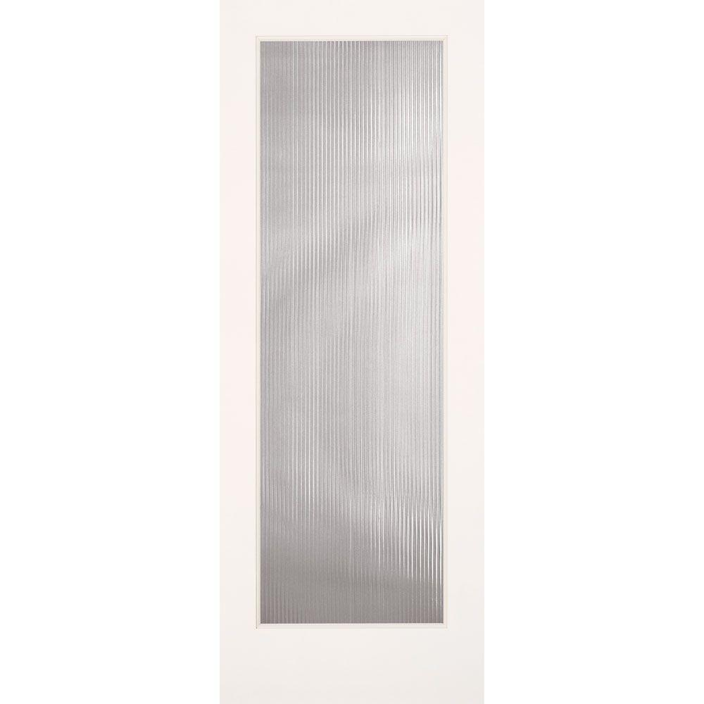 Feather River Doors 30 in. x 80 in. Reed Smooth 1 Lite Primed MDF Interior Door Slab