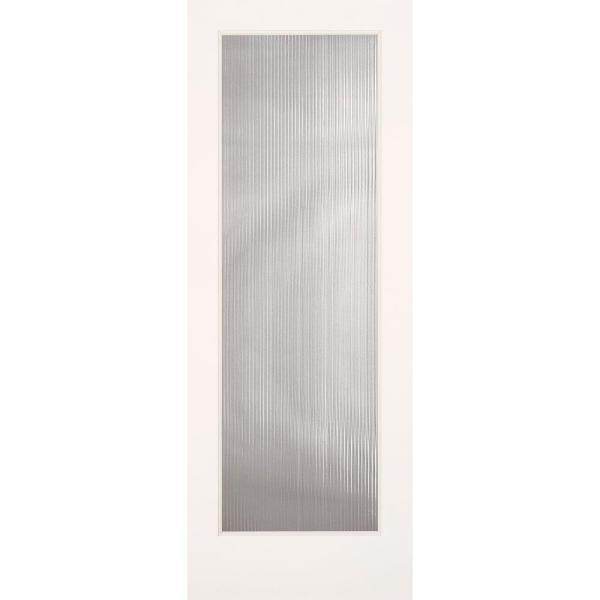 32 in. x 80 in. Reed Smooth 1 Lite Primed MDF Interior Door Slab