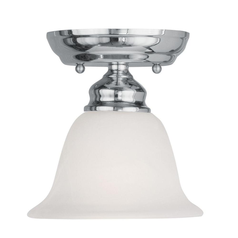 Livex Lighting Tashia 1-Light Chrome Semi-Flush Mount Light