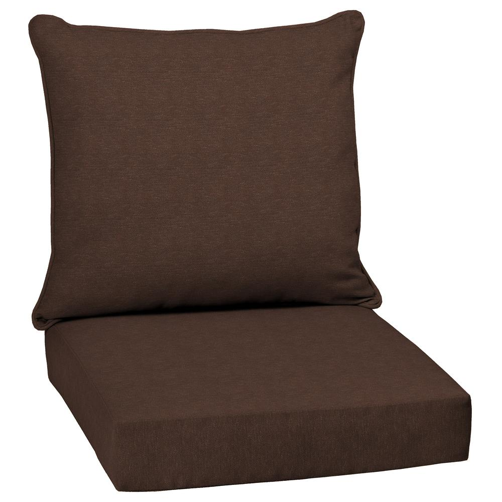 Chocolate Lamar Texture 2-Piece Deep Seating Outdoor Dining Chair Cushion Set