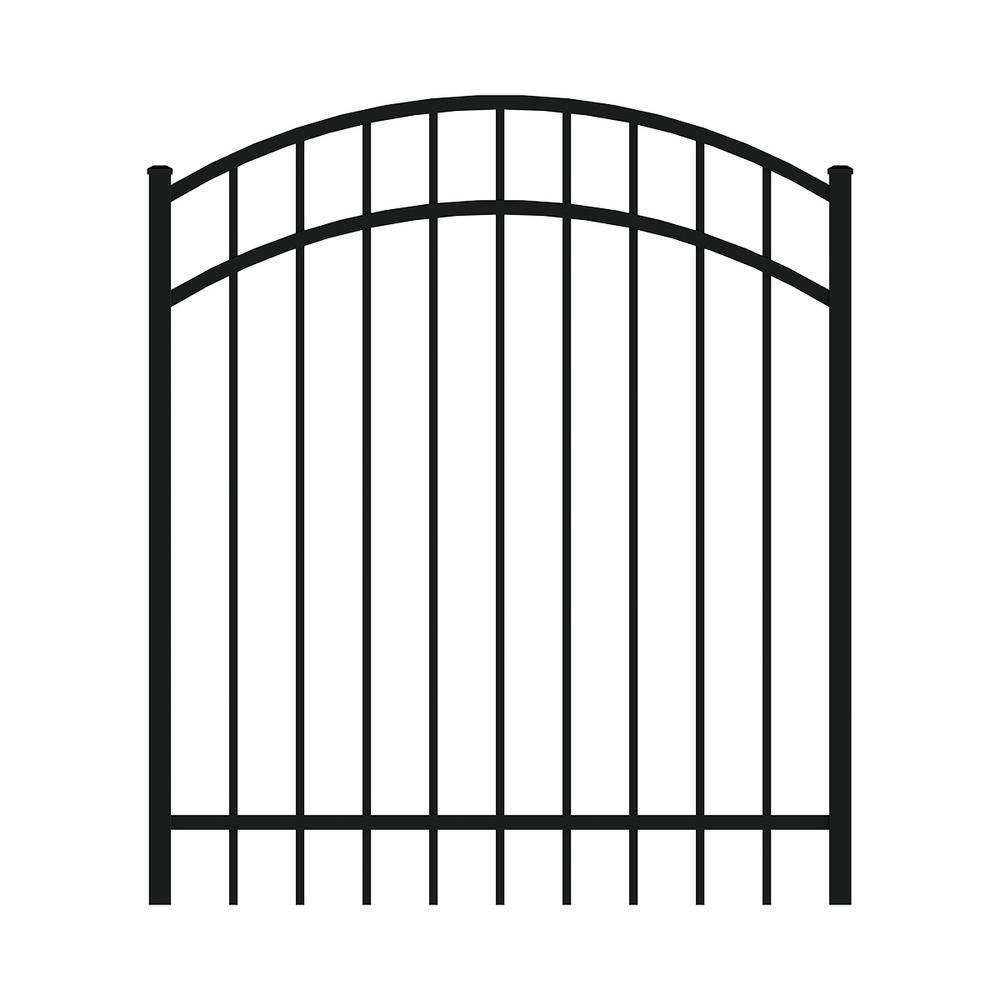 Vinings 4 ft. W x 4 ft. H Black Aluminum Arched Pre-Assembled Fence Gate