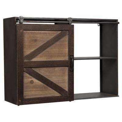 Farmhouse 27.8 in. W x 12.24 in. D Brown Barn Door Decorative Shelf
