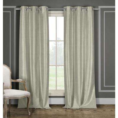Solid Taupe Polyester Blackout Grommet Window Curtain - 38 in. W x 96 in. L (2-Pack)