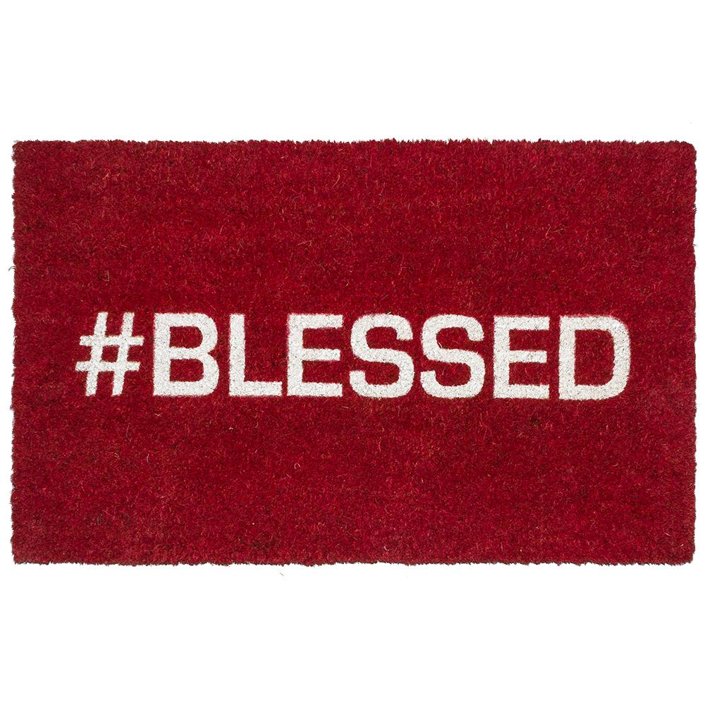 Blessed 17 in. x 28 in. Non-Slip Coir Door Mat