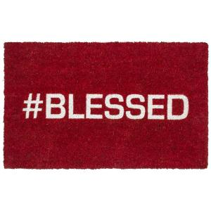 Entryways Blessed 17 inch x 28 inch Non-Slip Coir Door Mat by Entryways