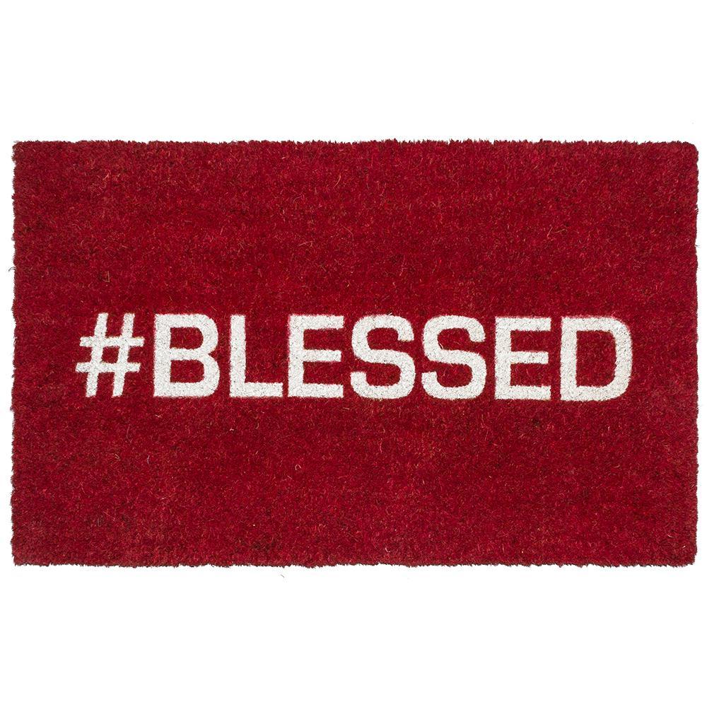 Blessed 17 in. x 28 in. Non-Slip Coir Door Mat