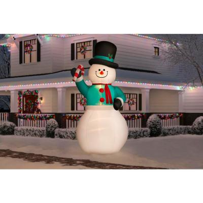 12 ft. Pre-lit Inflatable Snowman with Candy Cane