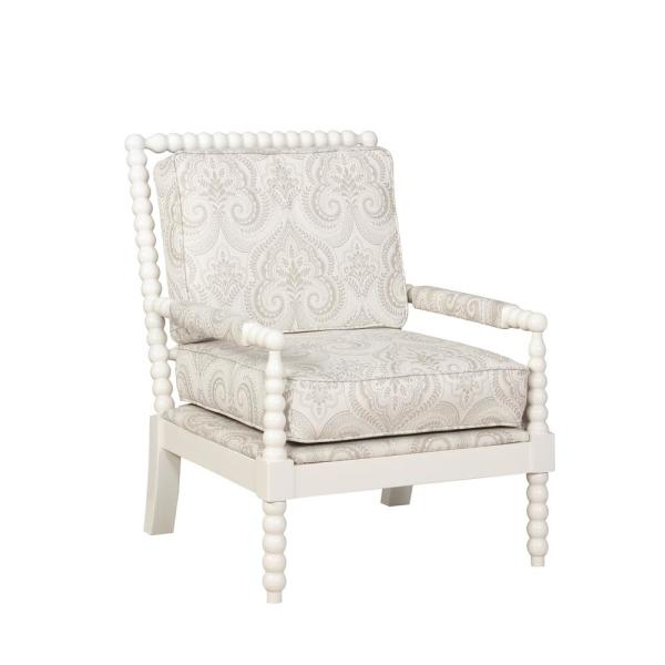 Bridgette Beige Paisley Spindal Wood Frame Chair