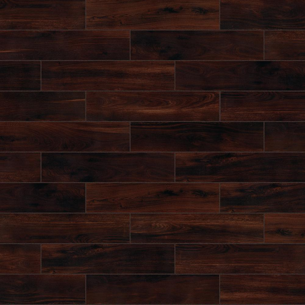 Florida Tile Home Collection Beautiful Wood Cherry 8 in. x 36 in. Porcelain Floor and Wall Tile (378 sq. ft. / pallet)