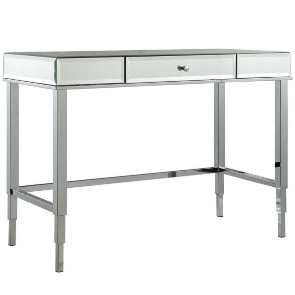 43 in. Rectangular Chrome 1 Drawer Writing Desk with Mirrored Material