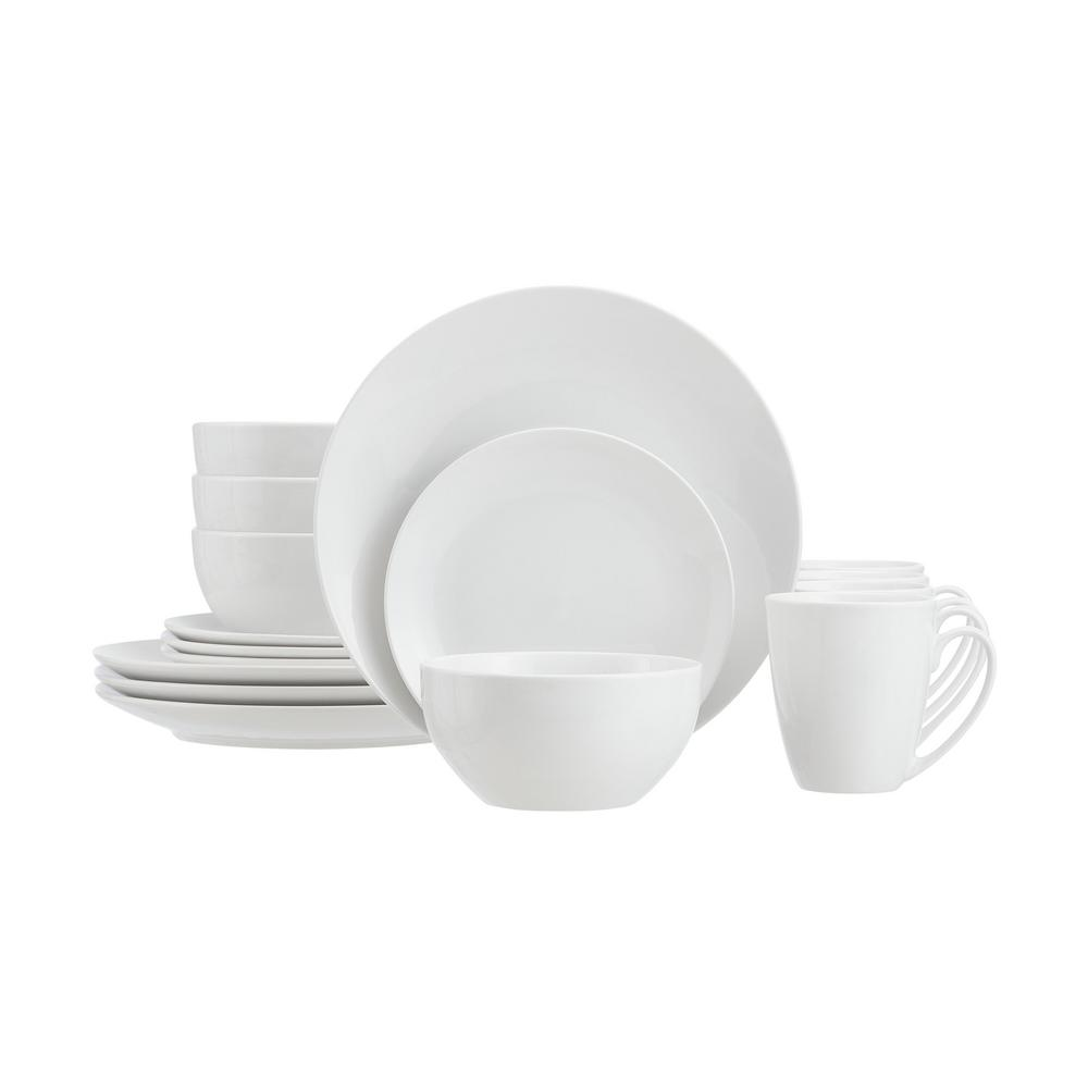 Stylewell Stylewell 16 Piece White Ceramic Coupe Dinnerware Set Service For 4 124585 16rm The Home Depot