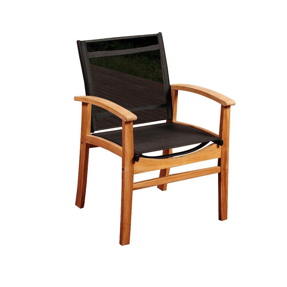 Elliot Teak Patio Dining Armchair with Black Textile Sling