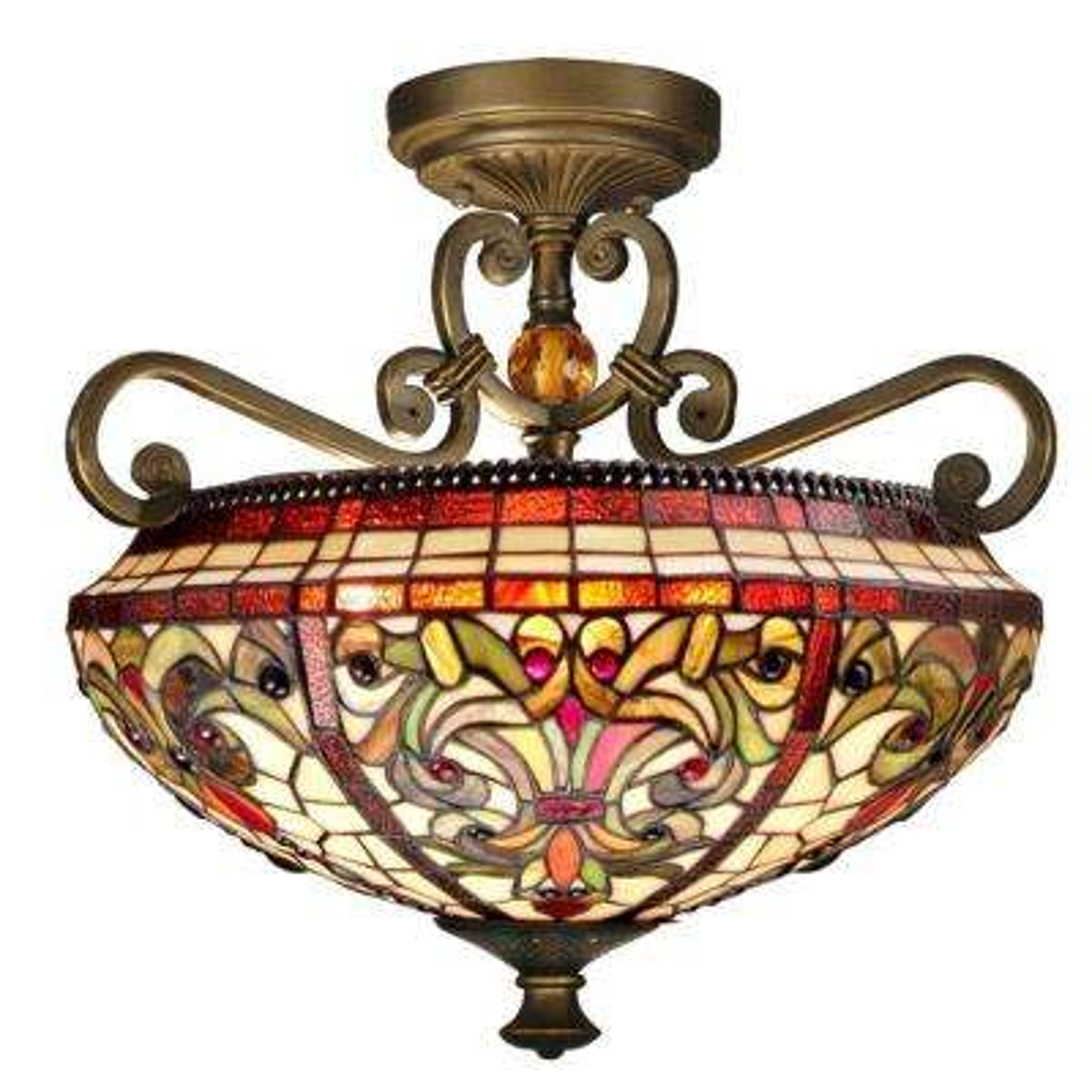 Baroque 2-Light Antique Golden Sand Semi-Flush Mount Light