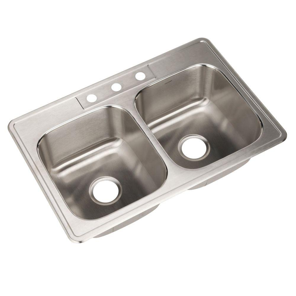 Glowtone Series Drop-In Stainless Steel 33 in. 3-Hole Double Bowl Kitchen