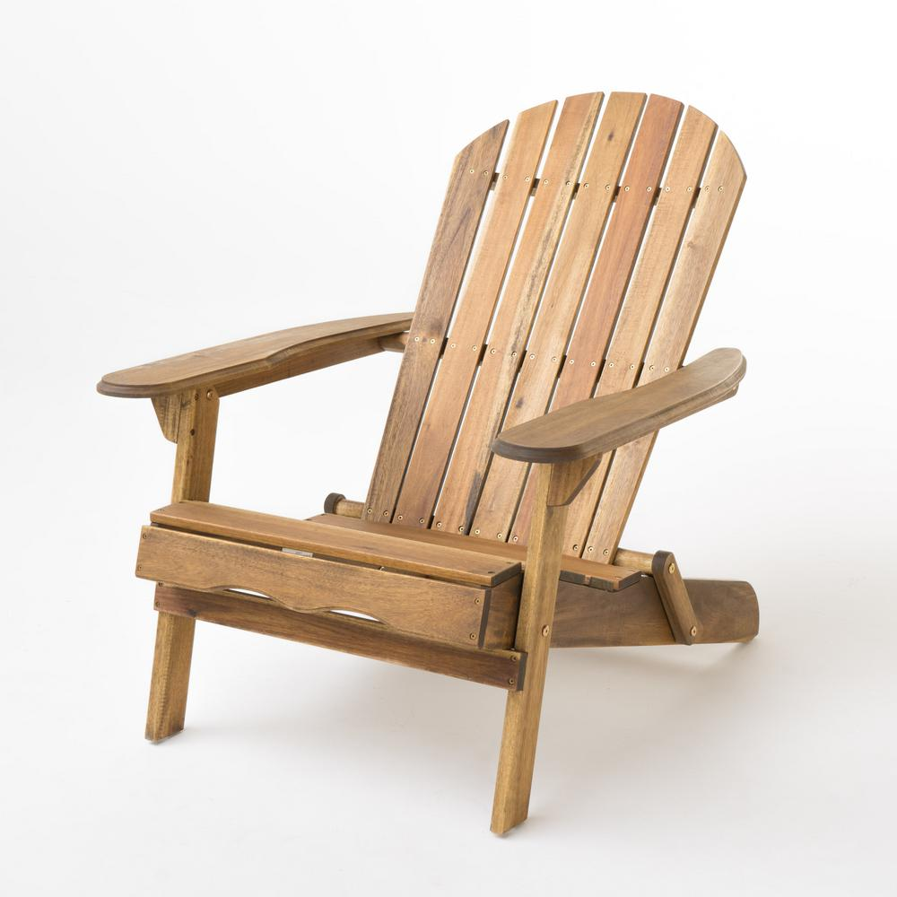 Noble House Hanlee Natural Stained Folding Wood Adirondack