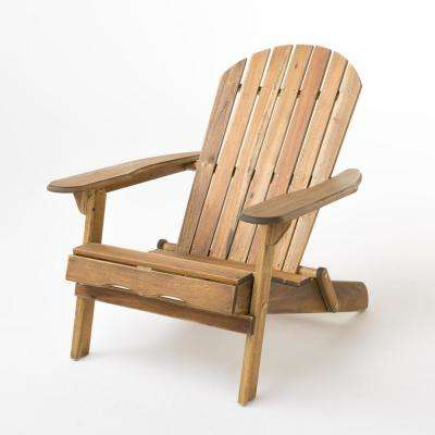 Hanlee Natural Stained Folding Wood Adirondack Chair - Unfinished Wood - Patio Chairs - Patio Furniture - The Home Depot