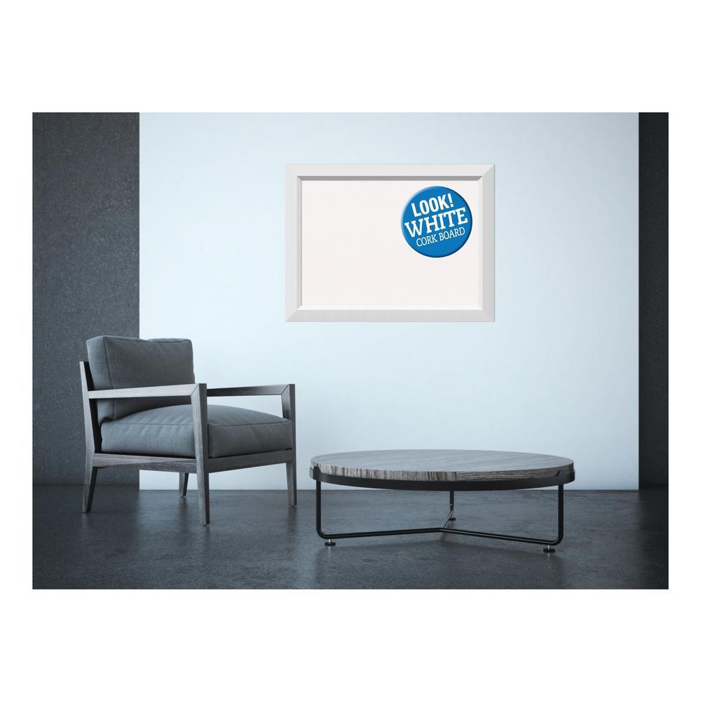 Blanco White Wood 32 in. x 24 in. Framed White Cork Memo Board