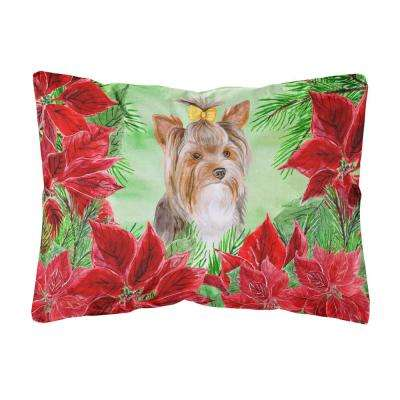 12 in. x 16 in. Multi-Color Lumbar Outdoor Throw Pillow Yorkshire Terrier #2 Poinsettas