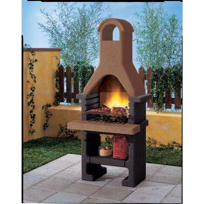 Palazzetti Pantelleria Charcoal or Wood Fire Outdoor Pedestal Grill in Brown