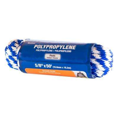 5/8 in. x 50 ft. Smooth Braid Polypropylene Rope in Blue and White Color Hanked