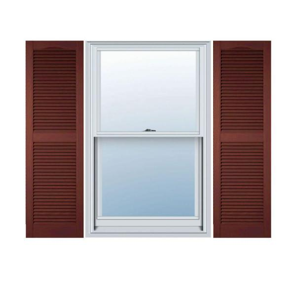 Ekena Millwork 14 1 2 In X 25 In Lifetime Vinyl Standard Cathedral Top Center Mullion Open Louvered Shutters Pair Burgundy Red Ll1s14x02500rd The Home Depot