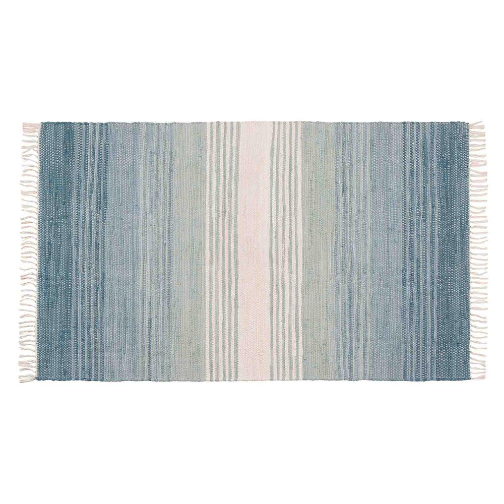 NOW Designs Chindi Seaglass Stripe 36 In. X 60 In. Woven Mat