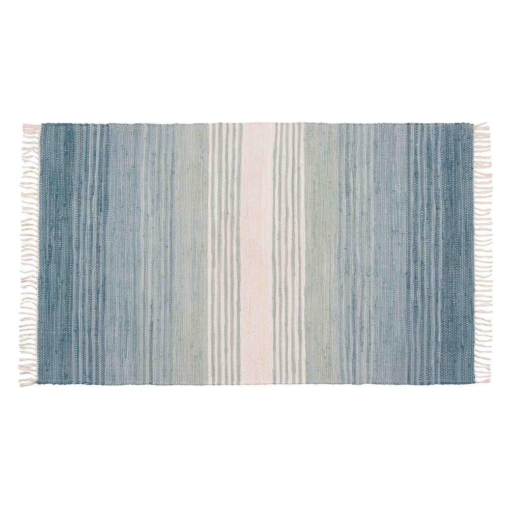 Chindi Seaglass Stripe 36 in. x 60 in. Woven Mat