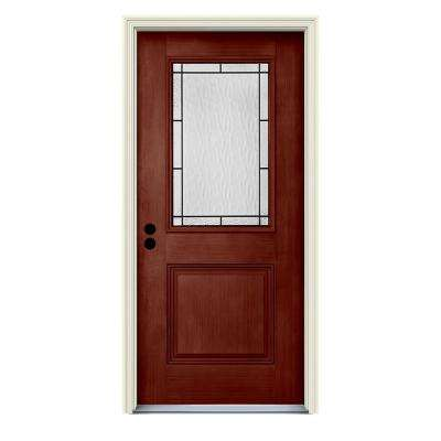 36 in. x 80 in. Right-Hand 1/2-Lite Wendover Black Cherry Stained Fiberglass Prehung Front Door with Brickmould