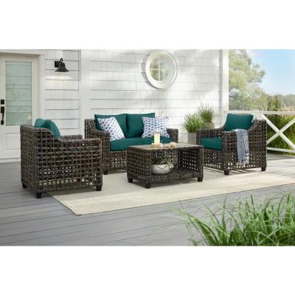 Briar Ridge 4-Piece Brown Wicker Outdoor Patio Conversation Deep Seating Set with CushionGuard Malachite Green Cushions