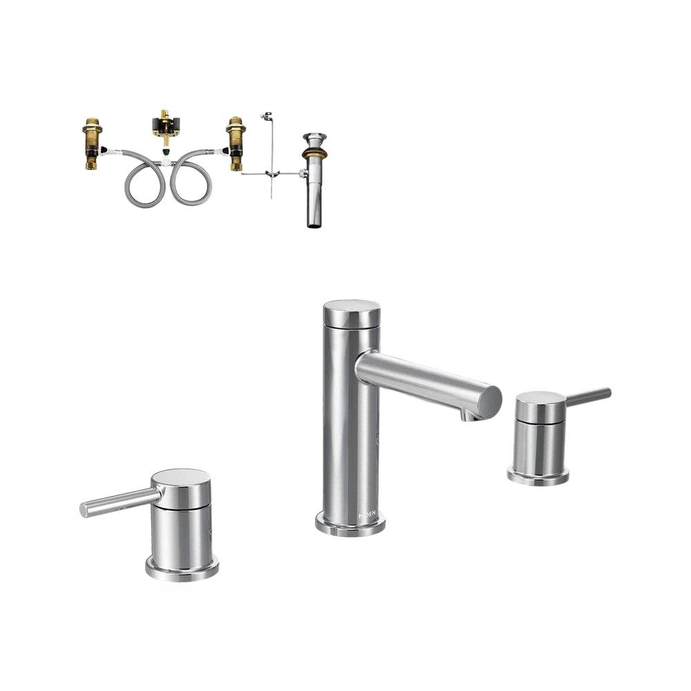 MOEN Align 8 in. Widespread 2-Handle Bathroom Faucet Trim Kit with Valve in Chrome