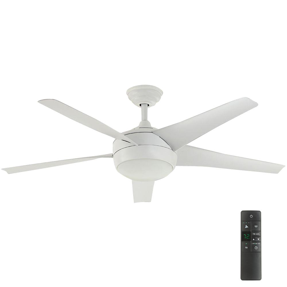 Home Decorators Collection Windward IV 52 in. Indoor Matte White Ceiling Fan with Light Kit and Remote Control