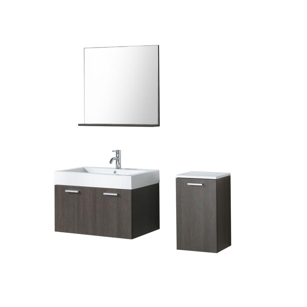 Virtu USA Hudson 29-1/2 in. Single Basin Vanity in Alamo with Poly-Marble Vanity Top in White/Side Cabinet and Mirror-DISCONTINUED
