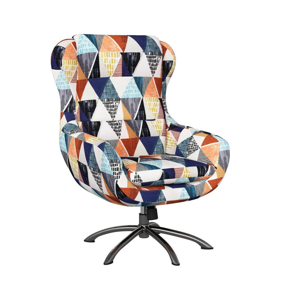 Selena Modern Swivel Rocking Chair in Multi-Colored Kite Print
