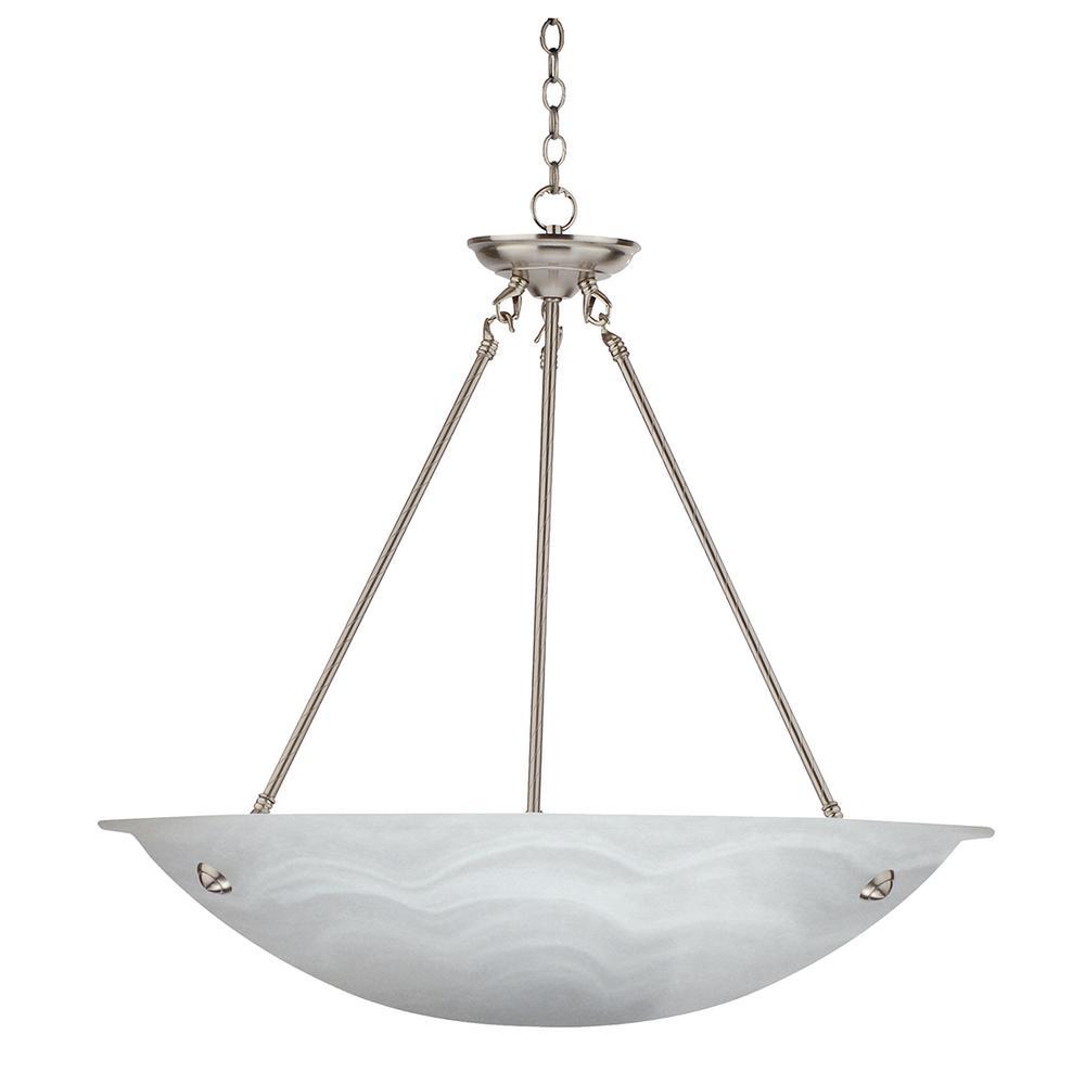 3-Light Satin Steel Chandelier with Marbleized Alabaster Glass Shade