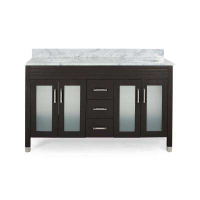 Halston 60 in. W x 22 in. D Bath Vanity with Carrara Marble Vanity Top in Brown with White Basin
