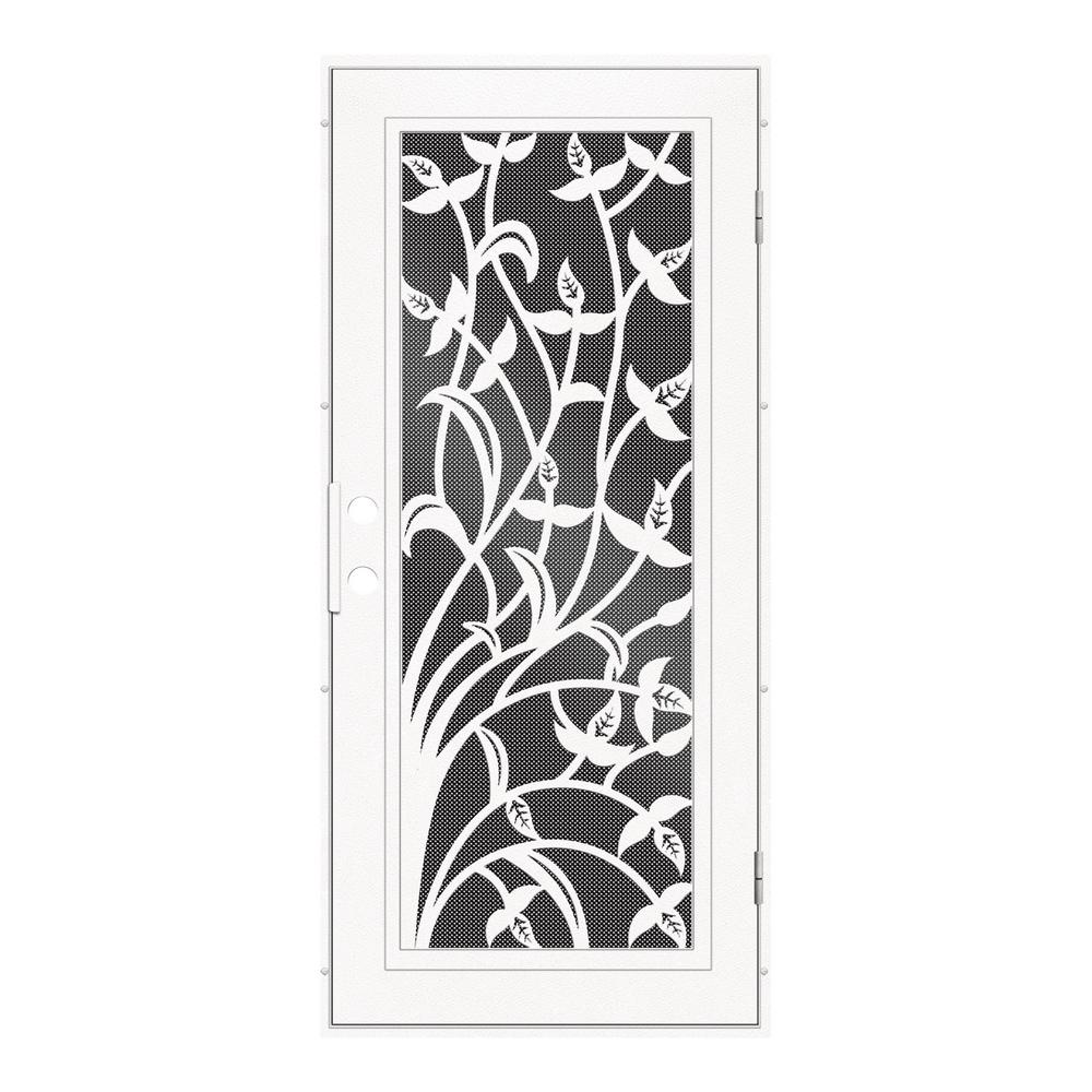 Unique Home Designs 36 In X 80 In Yale White Right Hand Surface Mount Security Door With Black