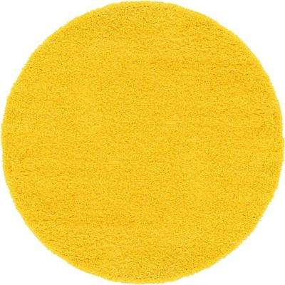 Solid Tuscan Sun Yellow 6 X Round Rug