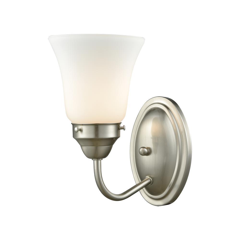 Thomas Lighting Califon Light Brushed Nickel With White Glass Bath - Home depot bathroom lighting sconces