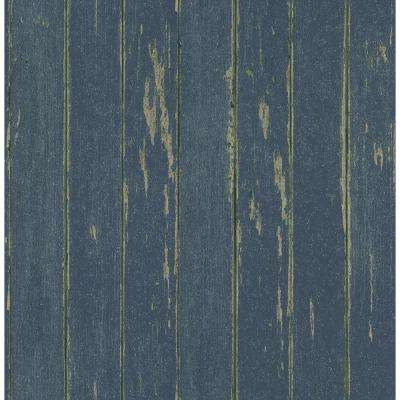 Northwoods Lodge Blue Weathered Plank Wallpaper Sample
