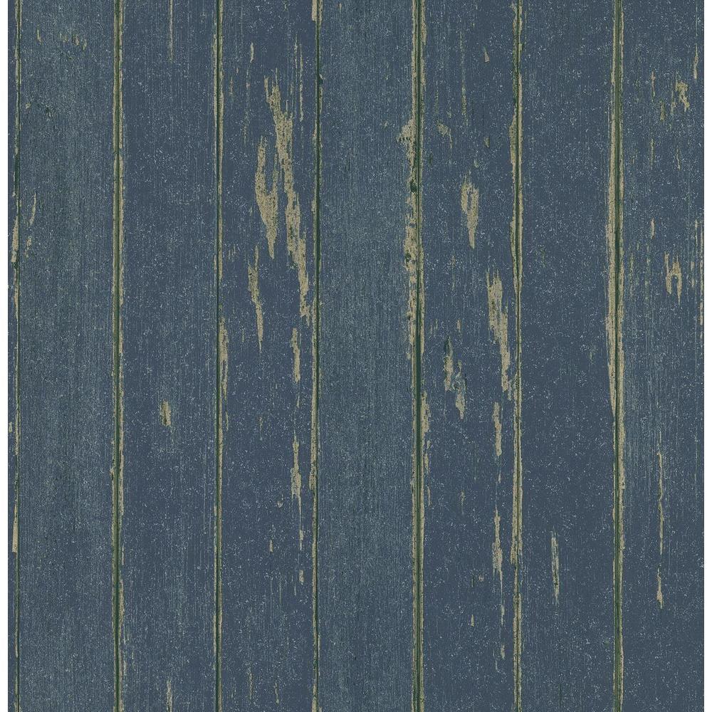 Northwoods Lodge Blue Weathered Plank Wallpaper Sample