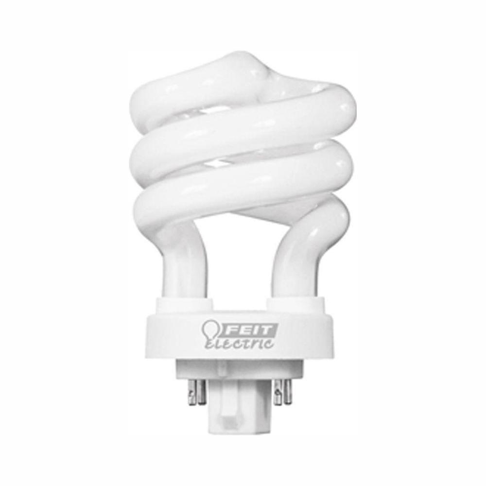 Feit Electric 13 Watt Equivalent Cflni Spiral 4 Pin G24q 1 Base Soft White 2700k Compact Fluorescent Cfl Light Bulb 50 Pack Plsp13e 50 The Home Depot