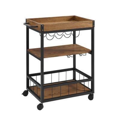 Austin Brown Bar Cart with Wine Rack
