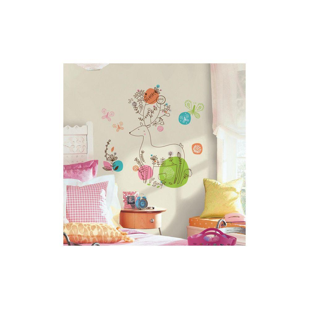 RoomMates 5 in. x 19 in. Zutano Pixie Deer 9-Piece Peel and Stick Giant Wall Decal