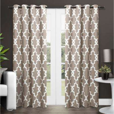 Ironwork 52 in. W x 96 in. L Woven Blackout Grommet Top Curtain Panel in Taupe (2 Panels)