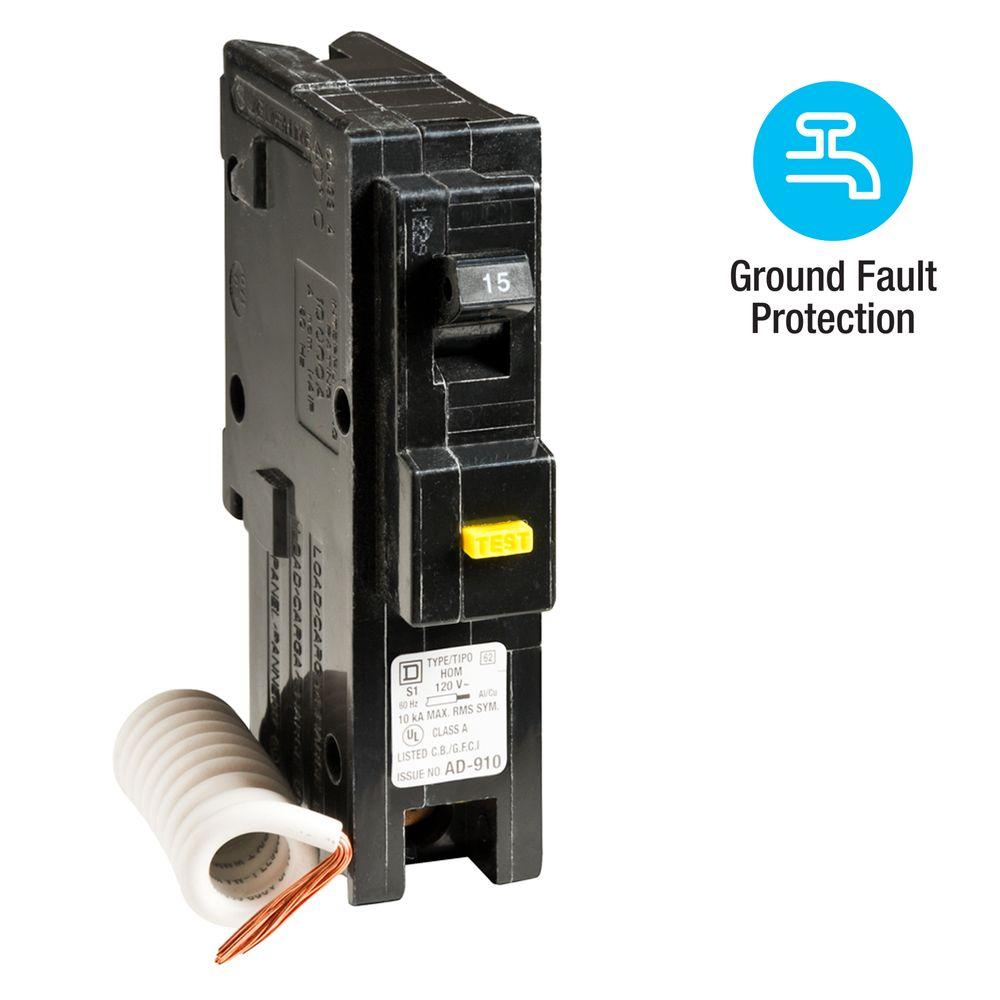 square d homeline 15 amp single pole gfci circuit breaker