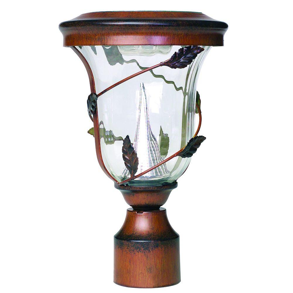 Flora Solar Antique Bronze Outdoor Post Light with 3 in. Fitter